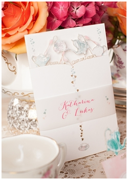 Lieschen und Ruth DEEinladungskarten Einladung Hochzeit Teekannen und Herzen